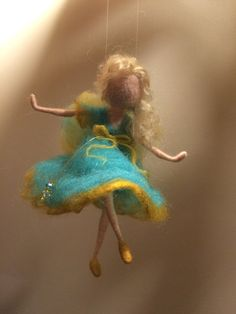Nadel Filz Waldorf inspirierte Fairy Türkis von DreamsLab3 auf Etsy