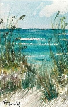 Beach watercolor by Tracee Murphy; Reminds me when I was young of an artist painting on the beach near my grandparent's home. Beach Watercolor, Watercolour Painting, Painting & Drawing, Watercolors, Watercolor Landscape Paintings, Watercolor Trees, Watercolor Illustration, Coastal Inspired Art, Coastal Art