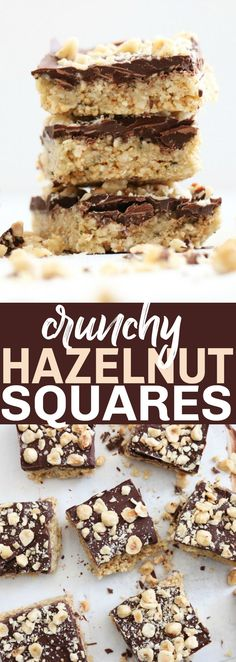 I am OBSESSED with these No-Bake Hazelnut Bars! They're gluten free, vegan and completely delish! You can never go wrong with crunchy hazelnut + chocolate! thetoastedpinenut.com #glutenfree #vegan #nobake #dessert