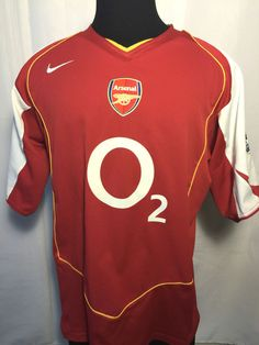 NIKE ARSENAL O2 HOME RED SOCCER FUTBOL JERSEY MENS XL 2004-2005 VINTAGE 126539 #Nike #Arsenal