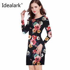 a37fb517d8f8 Idealark 2017 dress Women Clothing Spring Fashion Flower Print Dress Ladies  Long Sleeve Casual Autumn Dresses Vestidos WC0592. Šaty ...