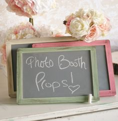 Chalkboard Signs Shabby Chic Rustic Wedding SET OF 3 (item P10180). $37.50, via Etsy.