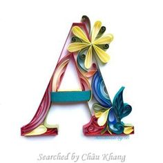 Unknown artist- ABCs quilling (Searched by Châu Khang) Quilling Letters, Paper Quilling Designs, Quilling Paper Craft, Toilet Paper Roll Crafts, Paper Crafts, Pixel Art, Rolled Paper Art, Origami, Quilling Tutorial