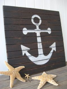 Items similar to Rustic Wooden Anchor Sign Distressed Nautical Beach Home Wall Art on Etsy Ocean Themes, Beach Themes, Anchor Room, Estilo Navy, Wood Projects, Projects To Try, Ocean Bedroom, Fishing Shack, Gaspard