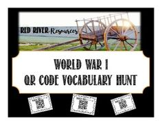 A great way to introduce vocabulary for a World War 1 unit! Print and laminate QR code pages and have students use their devices with a QR code scanner to learn the term for the World War 1 vocab definition listed on the card. Teacher Pay Teachers, Teacher Resources, Red River, World War One, Teacher Newsletter, Me On A Map, Lesson Plans, Vocabulary, My Photos