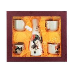 Sake Set - White Flask and 4 Cups