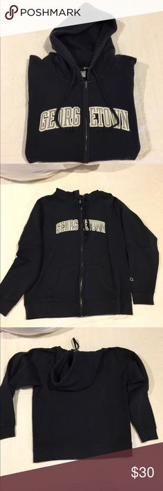 Georgetown Hoodie Previously worn navy hoodie. Super soft and in great condition! Has a drawstring and two front pockets. Open to reasonable offers through feature! Champion Tops Sweatshirts & Hoodies