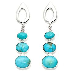 Jay King 3-Stone Oval Sterling Silver Drop Earrings