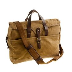 Abingdon Laptop bag by J. Crewe      Inspired by vintage hunting gear, J. Crew's Abingdon collection focuses heavily on timeless fabrics and made-to-last construction. You'll notice recurring details such as rugged waxed cotton canvas, burnished leather trim and brass-finish hardware. It turns out these durable features—favorites of outdoorsmen everywhere—are perfectly suited to the urbane task of laptop toting.     Great value at $98