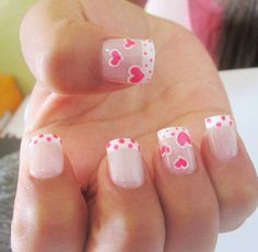 Corazones French Nails, Nail Polish Designs, Nail Art Designs, Love Nails, Pretty Nails, Valentine Nail Art, Pretty Nail Designs, Acrylic Nail Art, Nail Art Galleries