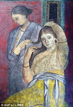 Roman fresco in the Villa of the Mysteries, Pompeii Ancient Pompeii, Pompeii And Herculaneum, Roman History, Art History, European History, American History, Rome Painting, Renaissance, Rome Antique