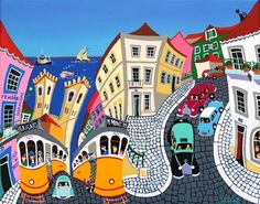 With Pascal Mercier Arte Popular, Illustrations, Illustration Art, Portuguese Culture, Sea Art, Naive Art, Travel Posters, Folk Art, Modern Art
