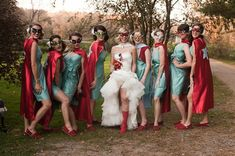 Superhero wedding!  Amazing!  Love the red and teal too!