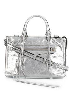 REBECCA MINKOFF Micro Regan Satchel. #rebeccaminkoff #bags #leather #lining #satchel #metallic #shoulder bags #hand bags #
