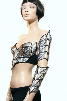 cybergoth, sci fi, cyberpunk, cropped corset top
