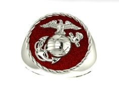 Sterling Silver 3/4 inch wide Marine Corps Ring with red - Made in the USA