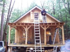Diary of a 20x24 cabin going up in NH - great pictures for ideas. LOVE the usable shutters and the way the porch was made