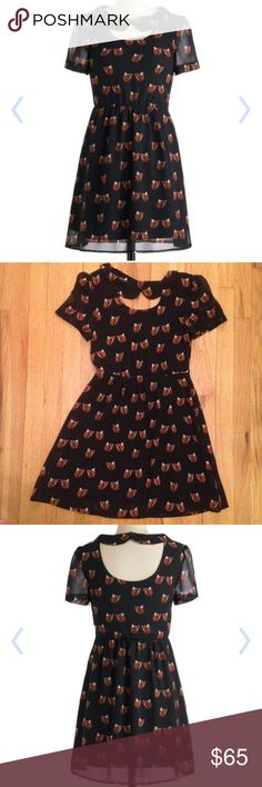 Modcloth Fox and the Pound Cake Dress Adorable fox print dress from modcloth. Brand is Sugarhill Boutique. Cute Peter Pan collar with unique back. It's a size small and 33 inches in length. Looking to go to a good home! ModCloth Dresses Mini