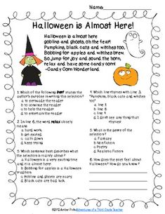 i especially love the first page of halloween poem and questions