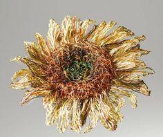 Sunflower brooch Sunflower jewelry Wire sculpture art by Vmikro Wire Flowers, Gold Flowers, Wire Art Sculpture, Modern Hippie Style, Indian Jewellery Online, Jewellery Uk, Sunflower Jewelry, Butterfly Jewelry, Unusual Jewelry