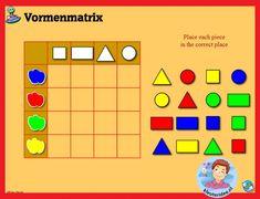 Vormenmatrix sorteren met kleuters op digibord of computer 1 / Shape Game for preschoolers in IWB or computer Shape Games, Smart Board Lessons, Number Games, Maths Puzzles, Matrix, Preschool Games, Busy Bags, Science For Kids, Learn To Read
