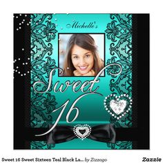 Sweet 16 Sweet Sixteen Teal Black Lace Photo Card Sweet 16 Sweet Sixteen Teal Blue Black Lace Silver Photo 16th Birthday Party Invitations All Occasion Invite Add Photo invitation All Occasions birthday invites