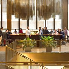 The restaurant's interior space is landmarked, meaning the famous bar, with its iconic Richard Lippold sculpture and curtains, will remain intact. Seasons Restaurant, Restaurant New York, Seagram Building, Famous Bar, Ludwig Mies Van Der Rohe, Architectural Digest, Four Seasons, Mid-century Modern, Cool Designs
