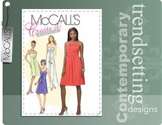 McCall's 6029 MISSES' LINED DRESSES IN 2 LENGTHS AND NECKTIE sewing pattern