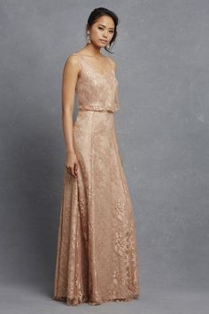 Shop Donna Morgan Quick Delivery Style - Natalya in Nylon Antique Lace at Weddington Way. Find the perfect made-to-order bridesmaid dresses for your bridal party in your favorite color, style and fabric at Weddington Way. Gorgeous Wedding Dress, Beautiful Gowns, Romantic Bridesmaid Dresses, Gold Bridesmaids, Boho Gown, Serenity, Wedding Gowns, Bridal Gowns, Evening Dresses