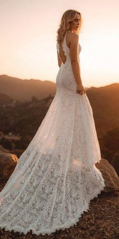 39 Boho Wedding Dresses Of Your Dream & boho wedding dresses sheath open back lace embellishment loversxsociety Elegant Wedding Gowns, Country Wedding Dresses, Perfect Wedding Dress, Boho Wedding Dress, Boho Dress, Lace Dress, Dream Wedding, Wedding Dress Shopping, Gown Wedding