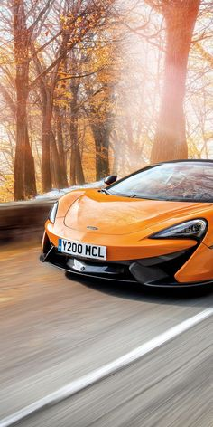 Orange, McLaren 570s, sports car, on-road, 1080x2160 wallpaper