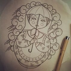 Outline Matryoshka With Umbrella Tattoo Design