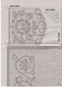 Scheme crochet no. Crochet Edging Patterns, Filet Crochet Charts, Crochet Borders, Crochet Curtains, Crochet Tablecloth, Crochet Doilies, Crochet Roses, Crochet Edgings, Thread Crochet