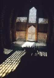 Interior of a mudhif, or reed house in Iraq.