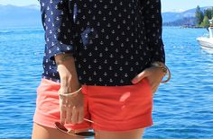 love this color combo: navy top (with anchors!!) and coral shorts