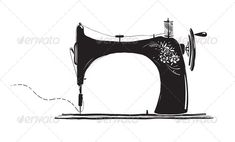Vintage Sewing Machine Ink Illustration
