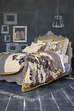 Anthropologie Bed..ooh chalkboard in the bedroom!,