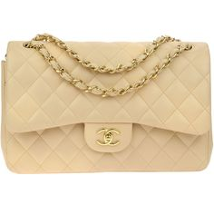b2d8e5a568f1 Pre-owned Chanel Beige Lambskin Double Flap Jumbo Bag ( 3