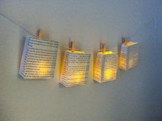 This listing is for a custom made garland of (petite sized) book luminary bags! These little lumes are beautiful! You will receive 5 luminaries