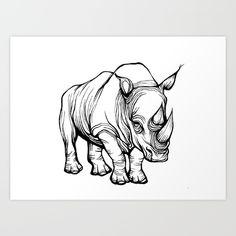 Hand drawn Rhino design<br/> <br/> Rhino, rhinoceros, graphic, line...