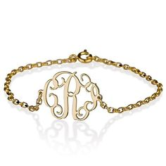 """This Gold Over sterling silver monogram bracelet is even more special because you make it personal. Have this monogram with your initials, this is a great gift for the ones you love, family and friends. Chain length is 7.5"""" (19 cm). This item is nickel free<br /> <br /> <br /> Note: your bracelet will appear in the following order...first name, LAST NAME, middle name"""