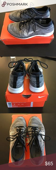 Women's Nike Free Training Flyknit Sneakers Sneakers are work but in good condition. They were worn in the gym for weight training workouts and twice for running outdoors. Nike Shoes Sneakers