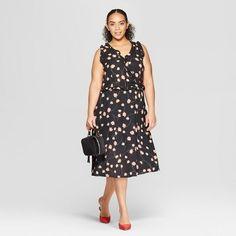 760bbd26e56 Women s Plus Size Floral Print Sleeveless Ruffle Detail Wrap Maxi Dress -  Who What Wear Black 1X