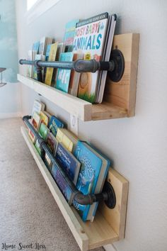 Industrial Black Pipe Shelf Black Pipe Black Pipe Bookshelf Farmhouse Industrial Farmhouse Kid's Bookshelf Bookshelf Pipe Bookshelf Pipe Bookshelves Industrial Bookshelf Nursery Industrial Nursery Farmhouse Nursery Baby Boy Nursery DIY How To Pipe Bookshelf, Bookshelves Kids, Nursery Bookshelf, Bookshelf Storage, Bookshelf Design, Kids Wall Bookshelf, Bookshelf Table, Kids Room Bookshelves, Bookshelf Ideas