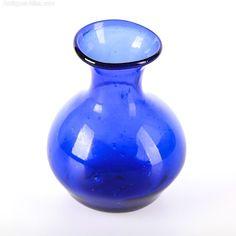 Antiques Atlas - Antique Bristol Blue Glass Vase Blue Glass Vase, Colored Vases, Genie Bottle, Mediterranean Design, Antique Glass, Art Forms, Bristol, Blue Green, Perfume Bottles