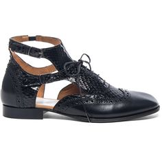 Maison Margiela Cut Out Leather & Python Oxfords ($375) ❤ liked on Polyvore featuring shoes, oxfords, flats, flat shoes, leather sole shoes, leather flat shoes, leather shoes and oxford flats