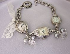 Vintage Watch Bracelet Pearl Repurposed Bracelet by jryendesigns