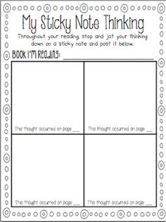 Life in First Grade: My Sticky Note {Freebie}