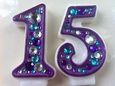 Birthday Candle - Blinged Out Number Candle - DOUBLE DIGIT - Rhinestone, glitter, blingy number candles.. $13.00, via Etsy.