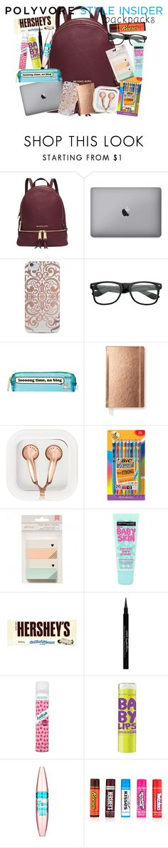 """""""Whats in my backpack?"""" by itsfashioninfinity ❤ liked on Polyvore featuring Michael Kors, Nanette Lepore, James & Friends, Kate Spade, claire's, BIC, Maybelline, Hershey's, Givenchy and Batiste"""